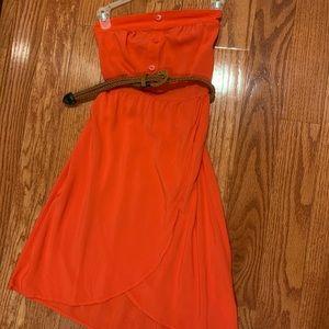 STRAPLESS ORANGE DRESS 🍊